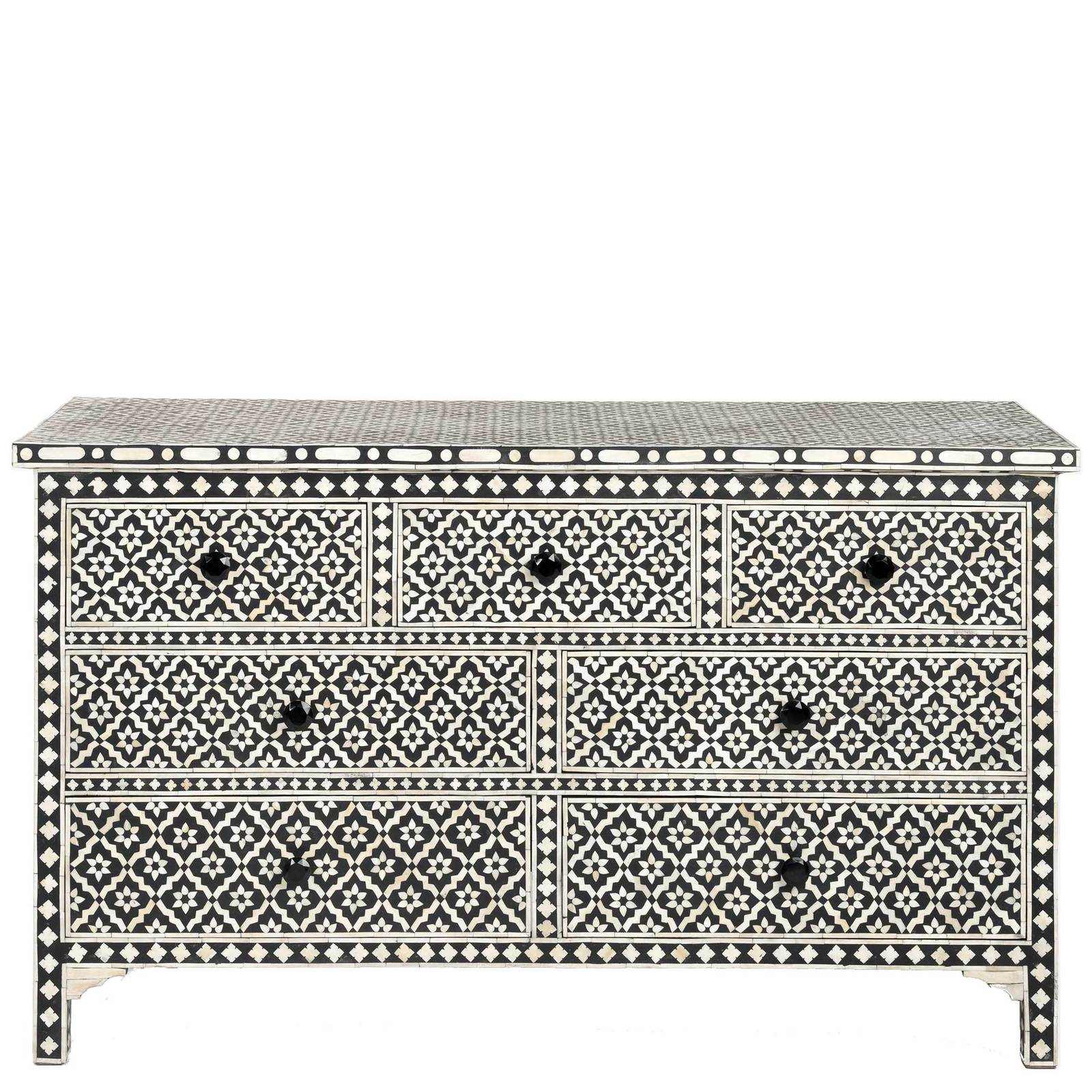Black Bone Inlay Chest of Drawers