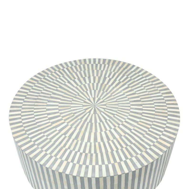 Buy Bone Inlay Stripe Design Round Coffee Table