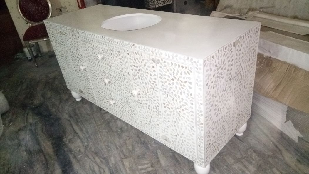 Mother Of Pearl Powder Room Cabinet (2)